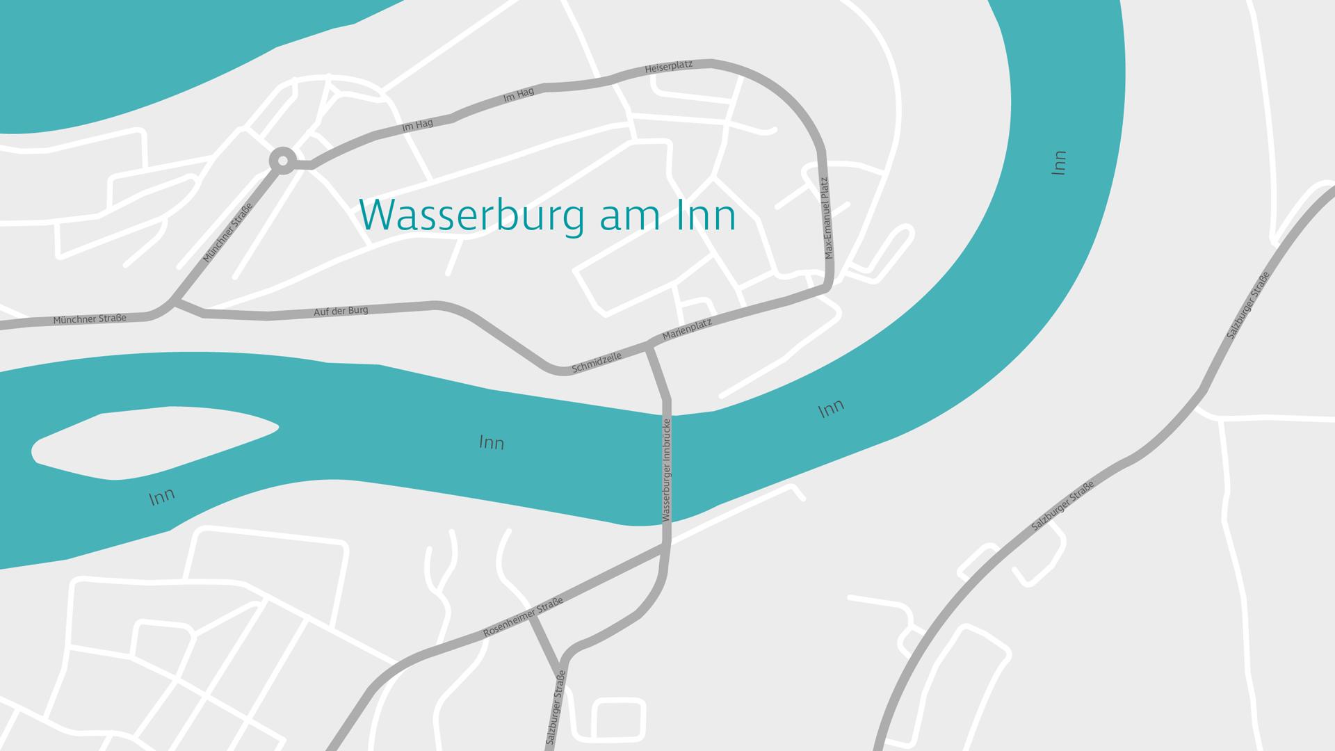 Kartenausschnitt von Wasserburg